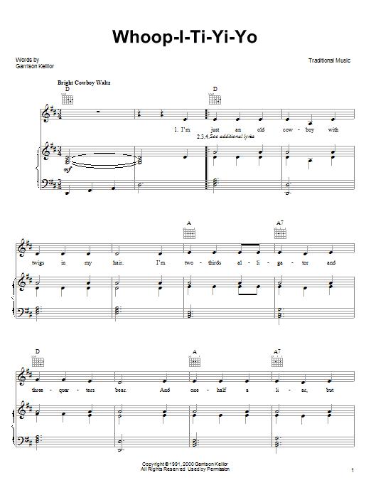 Garrison Keillor Whoop-I-Ti-Yi-Yo sheet music notes and chords. Download Printable PDF.