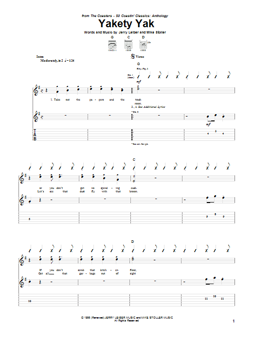 The Coasters Yakety Yak sheet music notes and chords. Download Printable PDF.