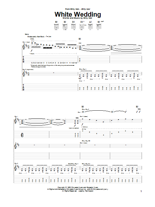 Billy Idol White Wedding sheet music notes and chords. Download Printable PDF.