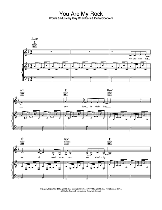 Delta Goodrem You Are My Rock sheet music notes and chords. Download Printable PDF.