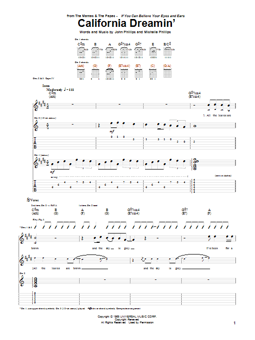 The Mamas & The Papas California Dreamin' sheet music notes and chords. Download Printable PDF.