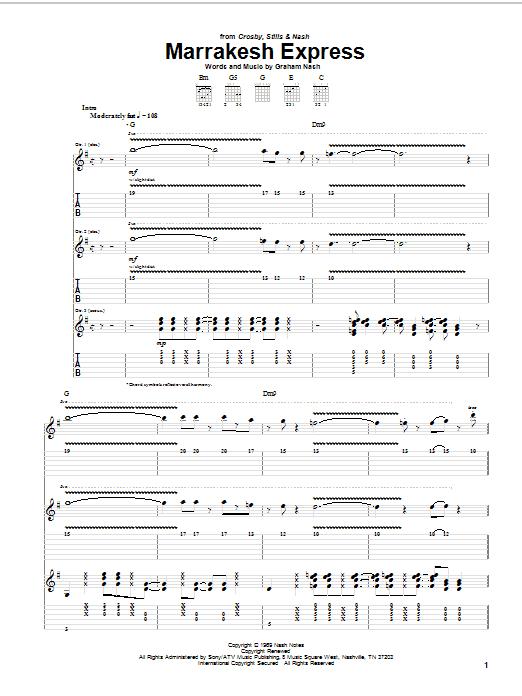 Crosby, Stills & Nash Marrakesh Express sheet music notes and chords. Download Printable PDF.