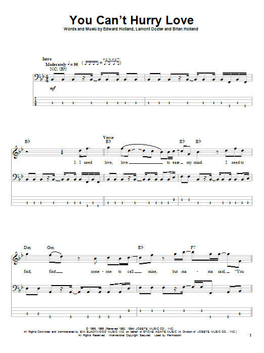 The Supremes You Can't Hurry Love sheet music notes and chords. Download Printable PDF.