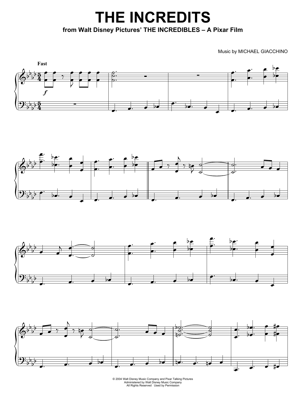 Michael Giacchino The Incredits sheet music notes and chords. Download Printable PDF.
