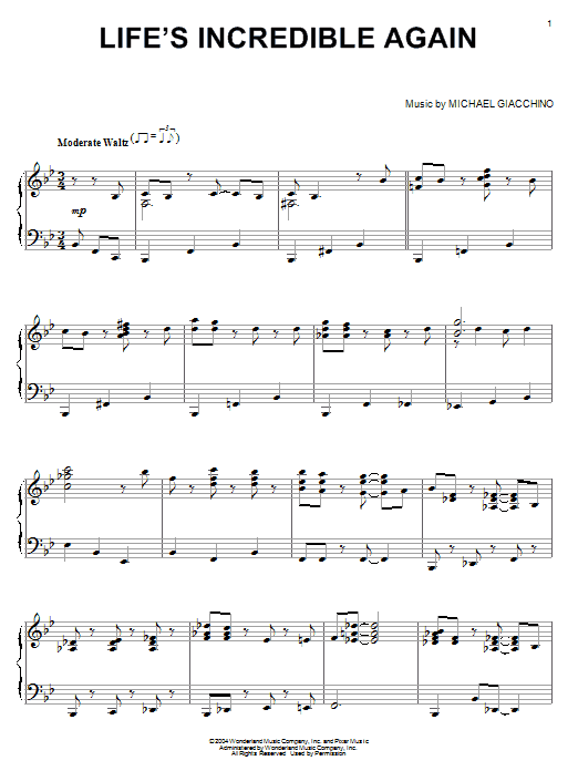 Michael Giacchino Life's Incredible Again (from The Incredibles) sheet music notes and chords. Download Printable PDF.