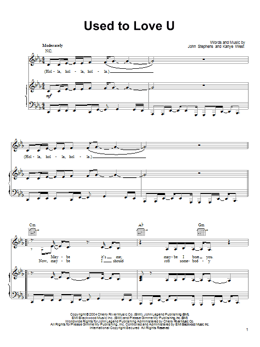 John Legend Used To Love U sheet music notes and chords. Download Printable PDF.
