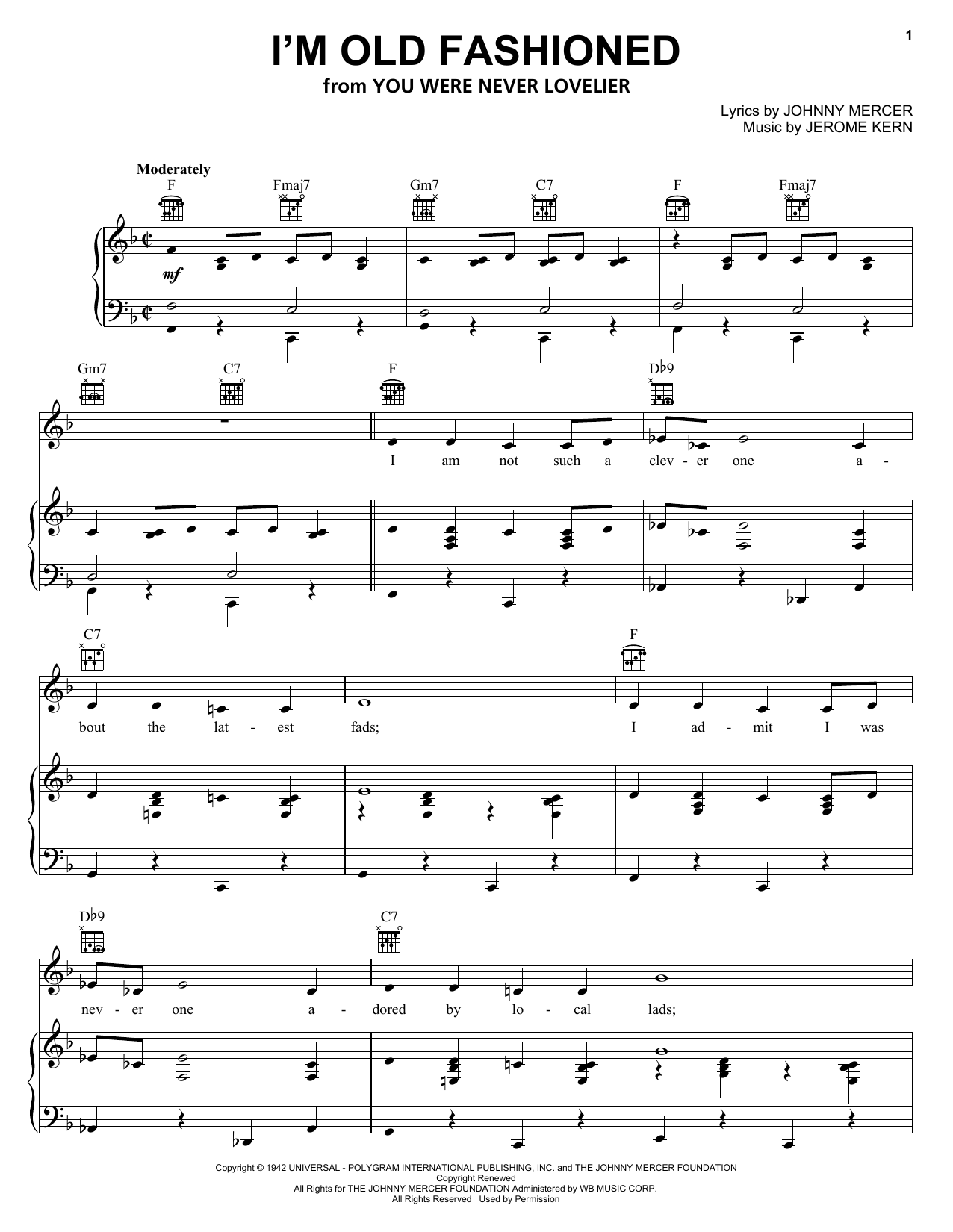 Jerome Kern I'm Old Fashioned sheet music notes and chords. Download Printable PDF.
