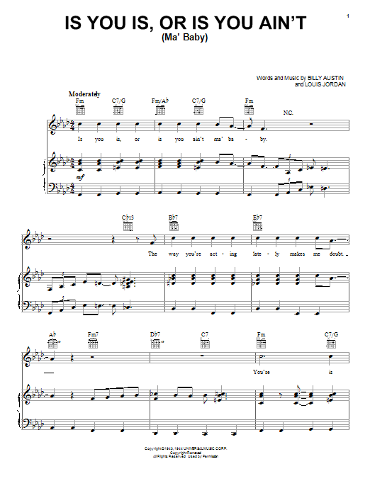 Louis Jordan Is You Is, Or Is You Ain't (Ma' Baby) sheet music notes and chords. Download Printable PDF.
