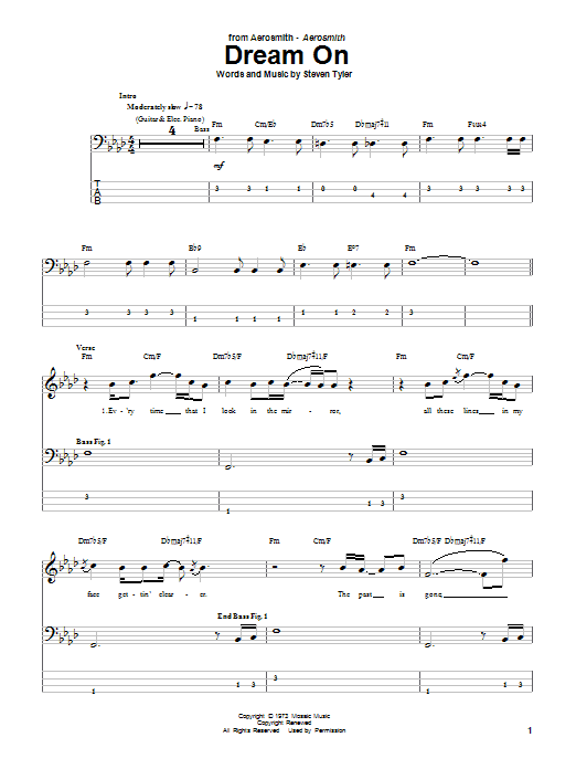 Aerosmith Dream On sheet music notes and chords. Download Printable PDF.