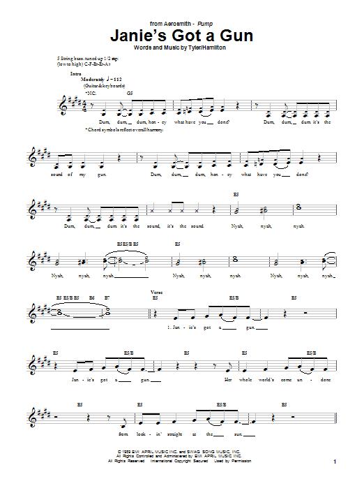 Aerosmith Janie's Got A Gun sheet music notes and chords. Download Printable PDF.