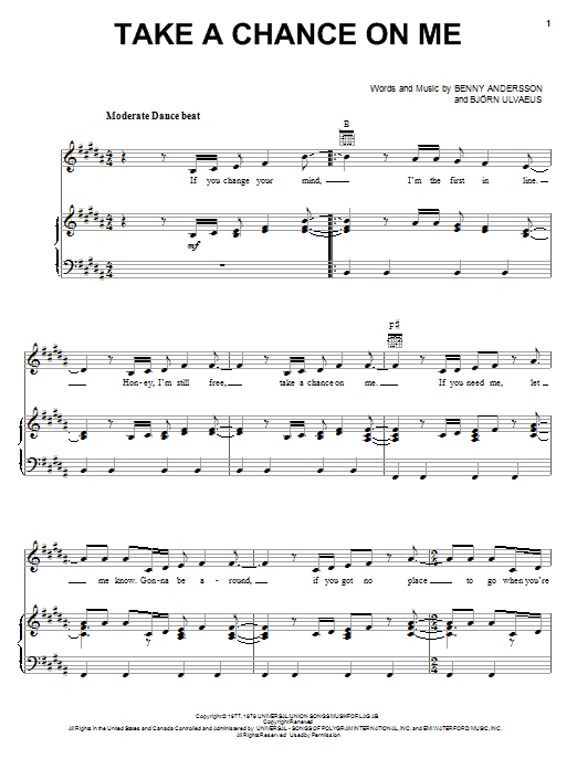 ABBA Take A Chance On Me sheet music notes and chords. Download Printable PDF.
