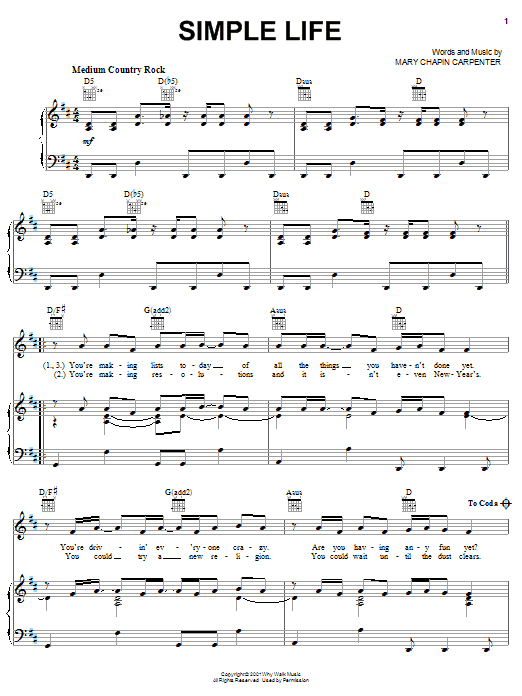 Mary Chapin Carpenter Simple Life sheet music notes and chords. Download Printable PDF.