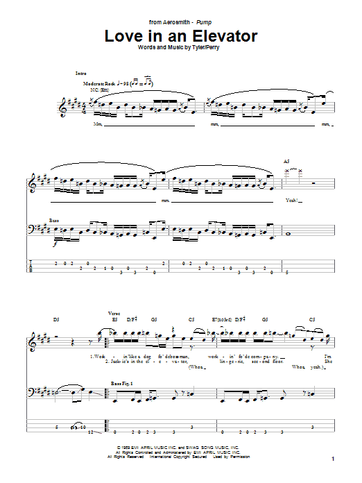 Aerosmith Love In An Elevator sheet music notes and chords. Download Printable PDF.