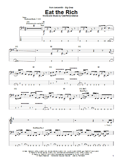 Aerosmith Eat The Rich sheet music notes and chords. Download Printable PDF.