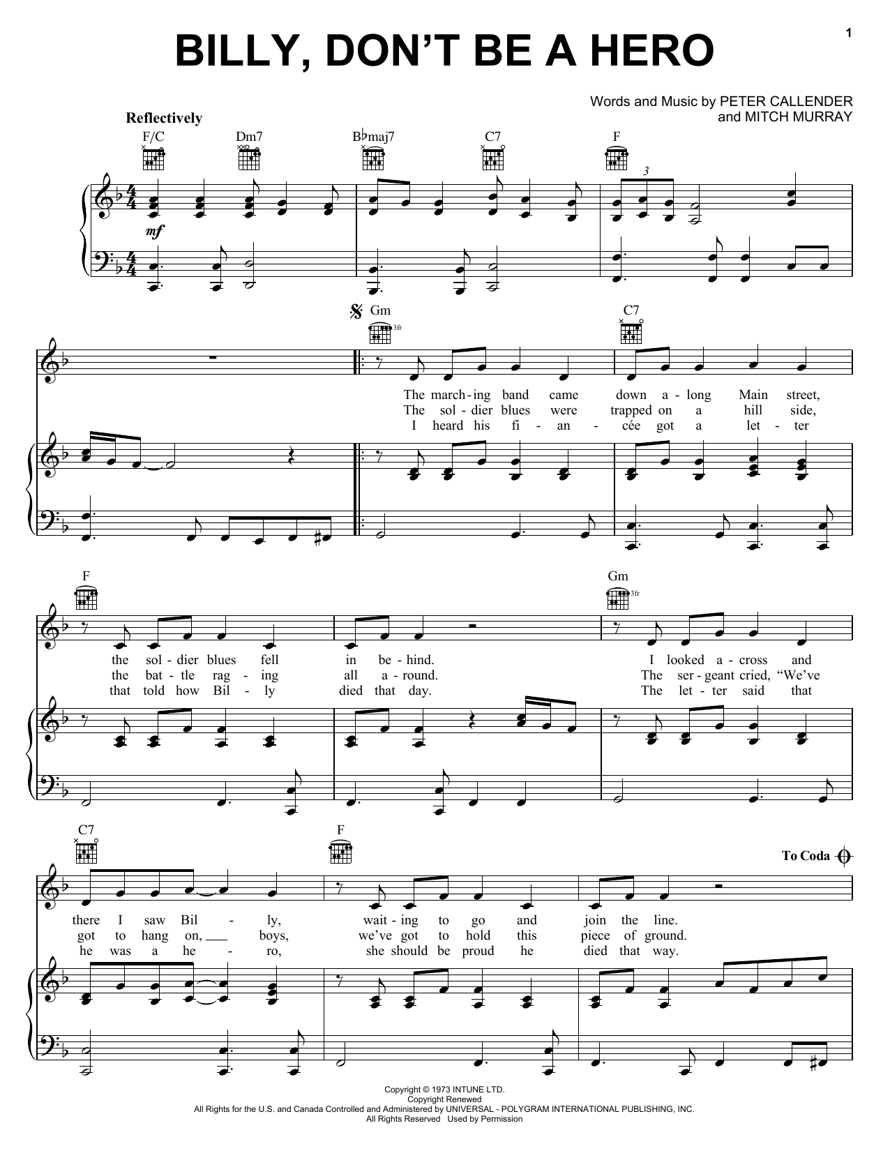 Bo Donaldson & The Heywoods Billy, Don't Be A Hero sheet music notes and chords. Download Printable PDF.