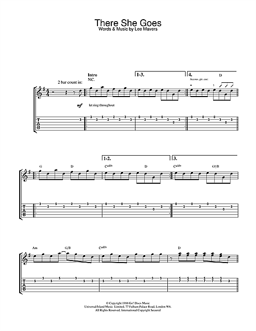 The La's There She Goes sheet music notes and chords. Download Printable PDF.