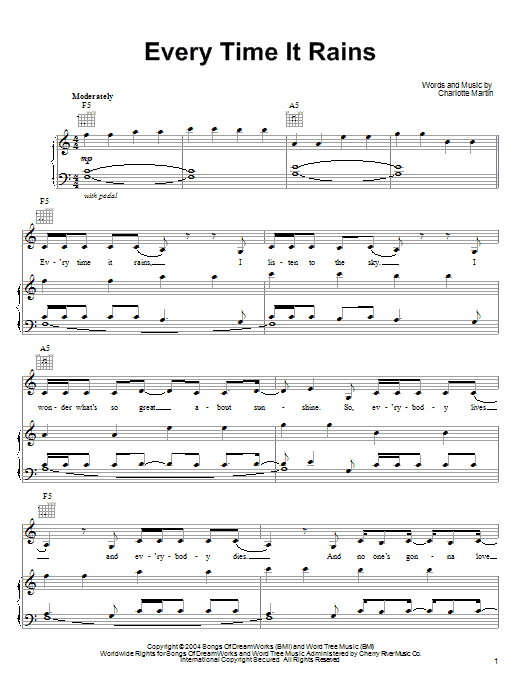 Charlotte Martin Every Time It Rains sheet music notes and chords. Download Printable PDF.