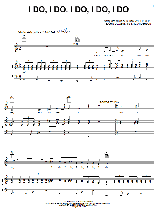 ABBA I Do, I Do, I Do, I Do, I Do sheet music notes and chords. Download Printable PDF.