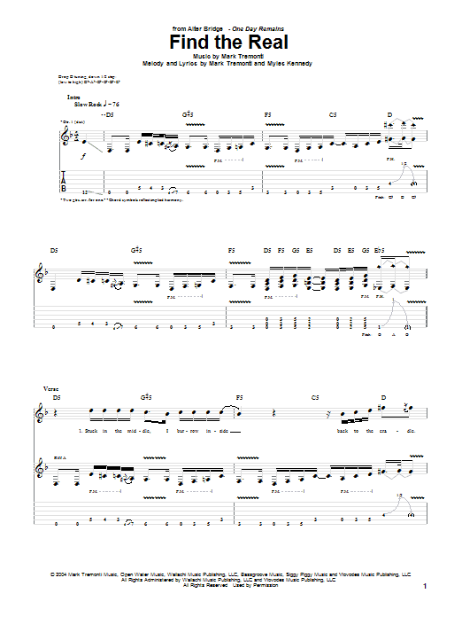 Alter Bridge Find The Real sheet music notes and chords. Download Printable PDF.