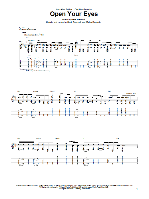 Alter Bridge Open Your Eyes sheet music notes and chords. Download Printable PDF.