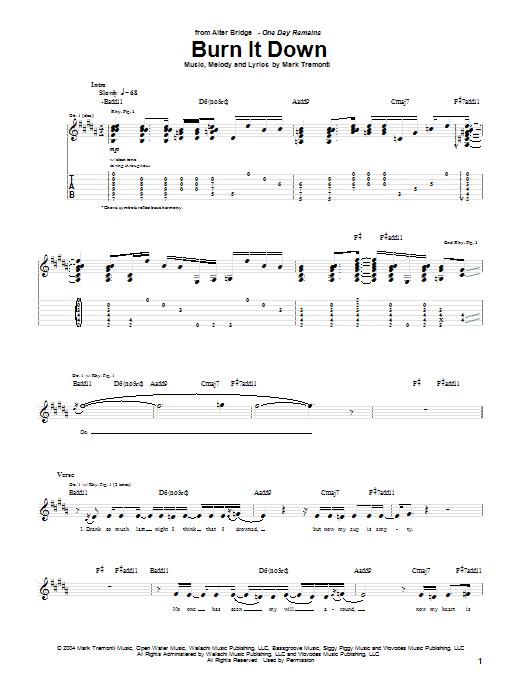 Alter Bridge Burn It Down sheet music notes and chords. Download Printable PDF.