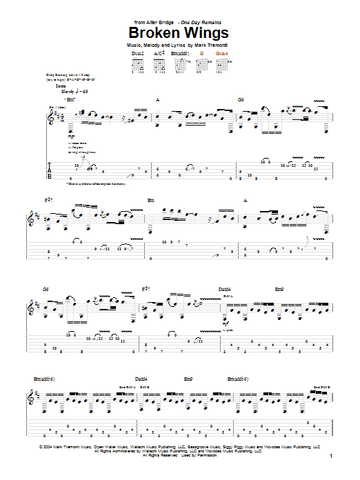 Alter Bridge Broken Wings sheet music notes and chords. Download Printable PDF.