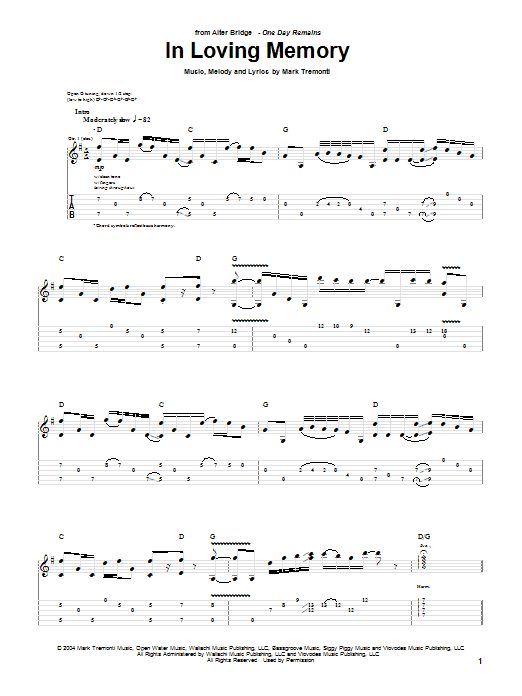 Alter Bridge In Loving Memory sheet music notes and chords. Download Printable PDF.