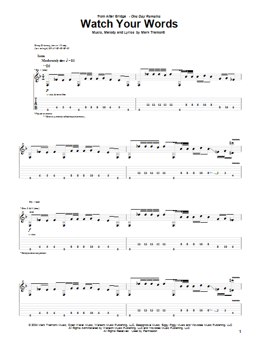 Alter Bridge Watch Your Words sheet music notes and chords. Download Printable PDF.