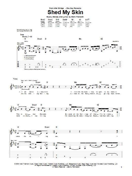 Alter Bridge Shed My Skin sheet music notes and chords. Download Printable PDF.