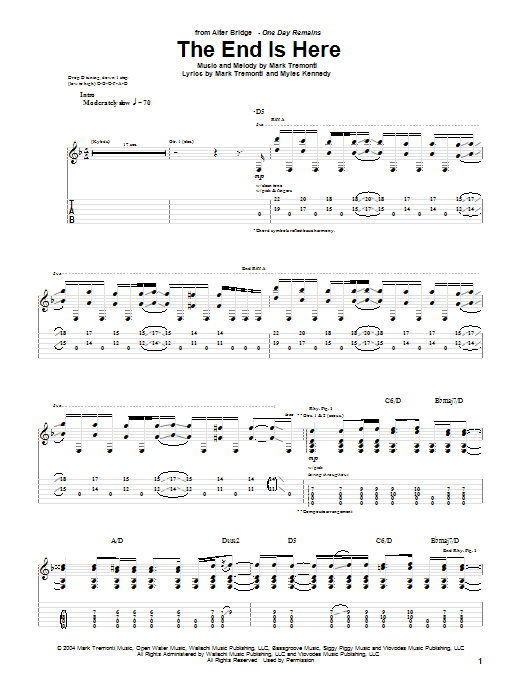 Alter Bridge The End Is Here sheet music notes and chords. Download Printable PDF.