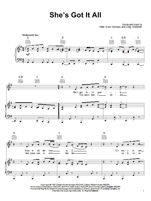 Kenny Chesney She's Got It All sheet music notes and chords. Download Printable PDF.