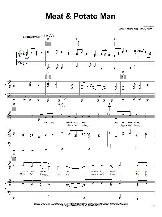 Alan Jackson Meat & Potato Man sheet music notes and chords. Download Printable PDF.