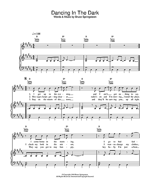Bruce Springsteen Dancing In The Dark sheet music notes and chords. Download Printable PDF.