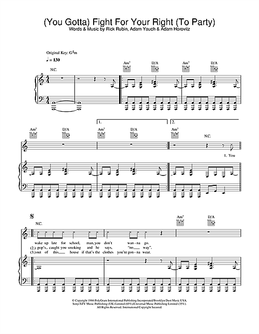 Beastie Boys (You Gotta) Fight For Your Right (To Party) sheet music notes and chords. Download Printable PDF.