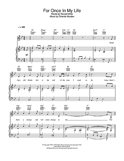 Stevie Wonder For Once In My Life sheet music notes and chords. Download Printable PDF.