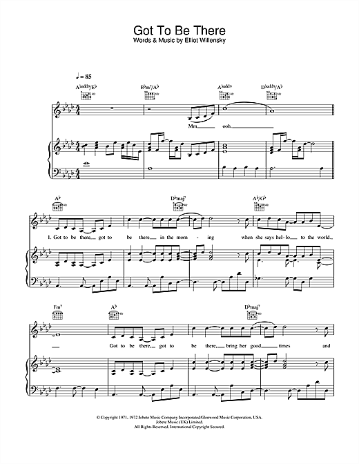 Michael Jackson Got To Be There sheet music notes and chords. Download Printable PDF.