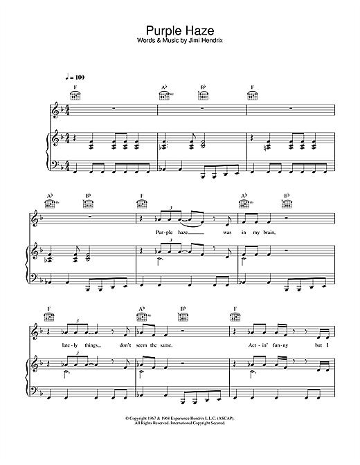 Jimi Hendrix Purple Haze sheet music notes and chords. Download Printable PDF.