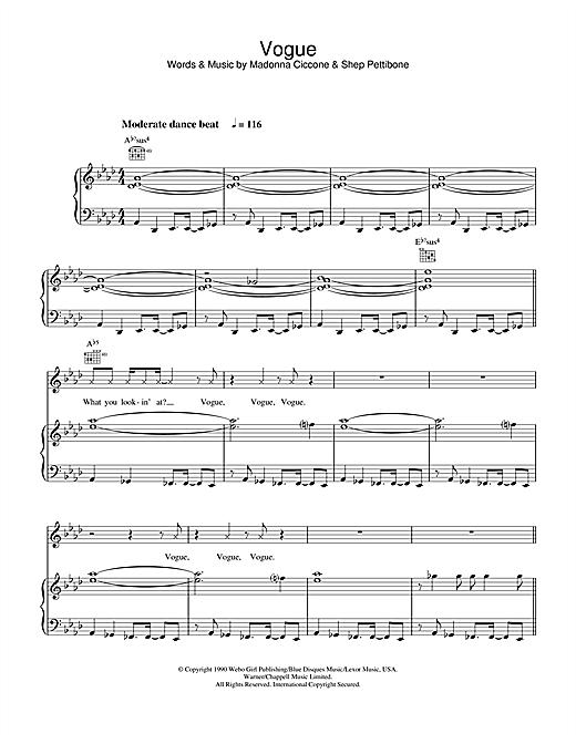 Madonna Vogue sheet music notes and chords. Download Printable PDF.
