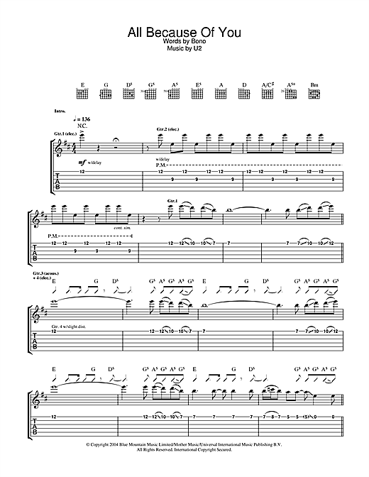 U2 All Because Of You sheet music notes and chords. Download Printable PDF.