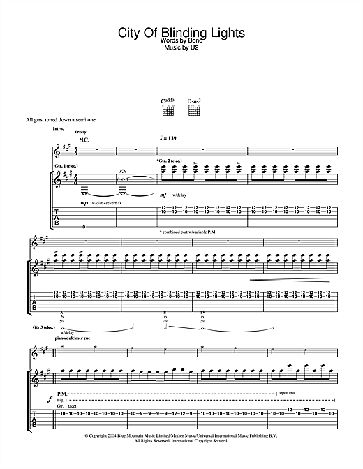 U2 City Of Blinding Lights sheet music notes and chords. Download Printable PDF.