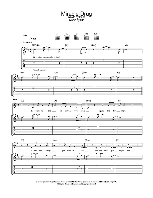 U2 Miracle Drug sheet music notes and chords. Download Printable PDF.
