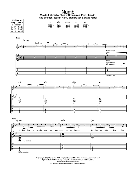 Linkin Park Numb sheet music notes and chords. Download Printable PDF.