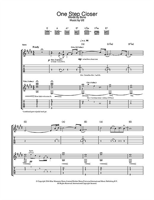 U2 One Step Closer sheet music notes and chords. Download Printable PDF.