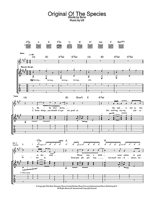 U2 Original Of The Species sheet music notes and chords. Download Printable PDF.