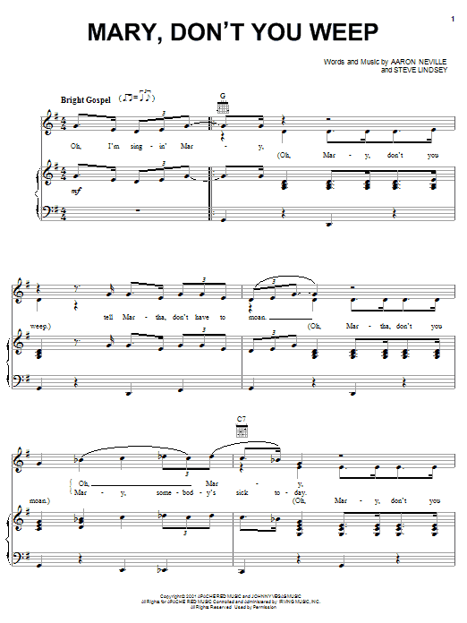 Aaron Neville Mary Don't You Weep sheet music notes and chords. Download Printable PDF.