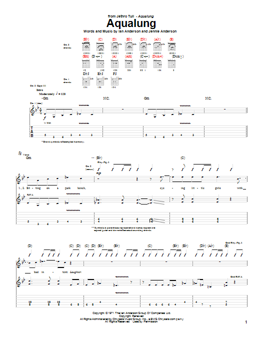Jethro Tull Aqualung sheet music notes and chords. Download Printable PDF.