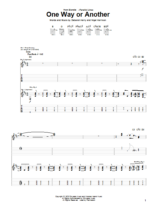Blondie One Way Or Another sheet music notes and chords. Download Printable PDF.