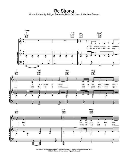 Delta Goodrem Be Strong sheet music notes and chords. Download Printable PDF.