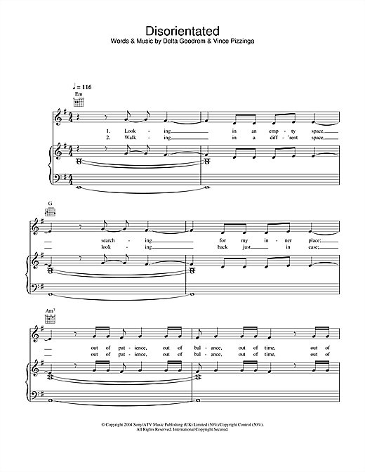 Delta Goodrem Disorientated sheet music notes and chords. Download Printable PDF.
