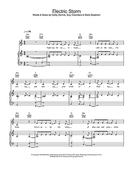 Delta Goodrem Electric Storm sheet music notes and chords. Download Printable PDF.